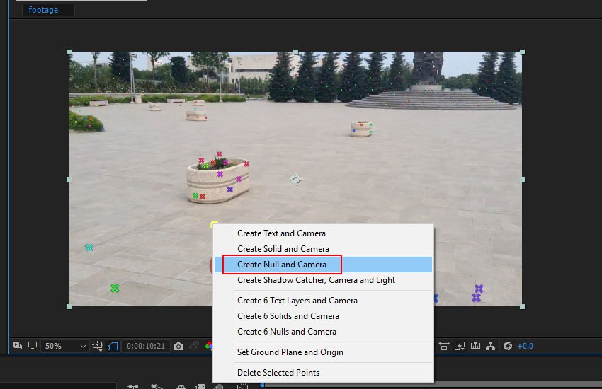 Create Null and Camera