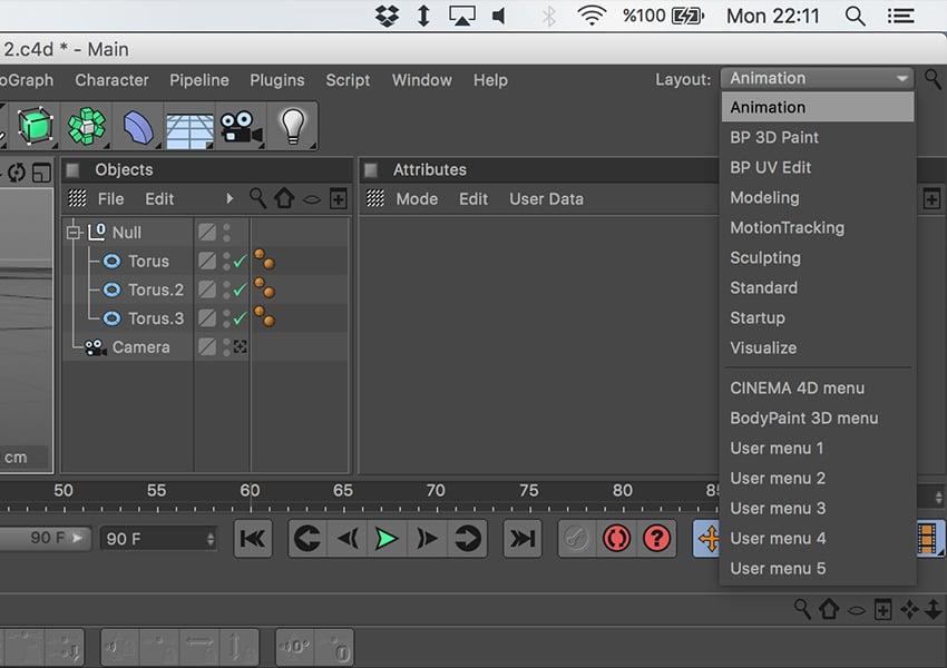 Animation layout selection