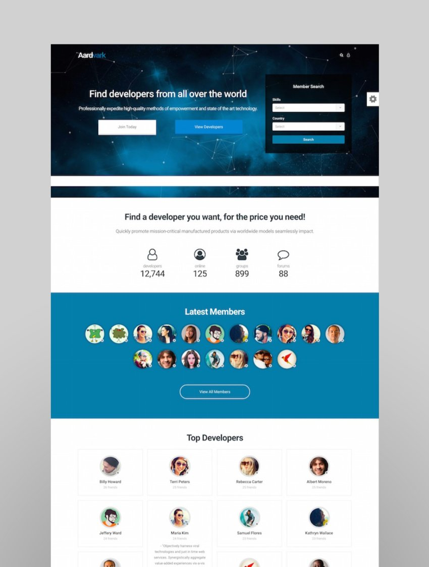 Aardvark - BuddyPress Membership  Community Theme