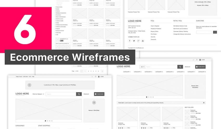 6 Ecommerce Wireframes