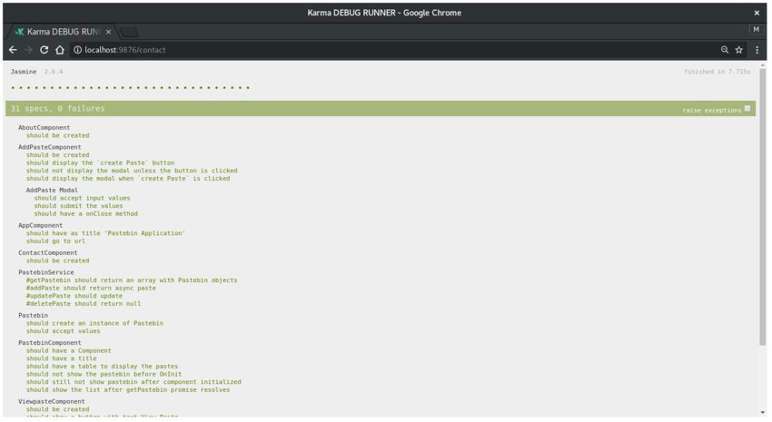 Screenshot of Karma test runner on Chrome displaying the final test results