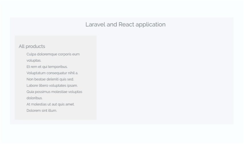 Screenshot of the React Application - List of all products