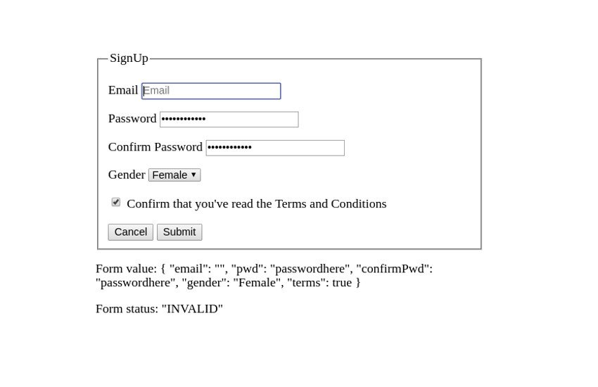Form state and validty in Model-driven forms