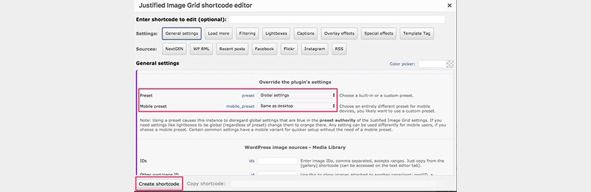 Justified Image Grid Shortcode Editor