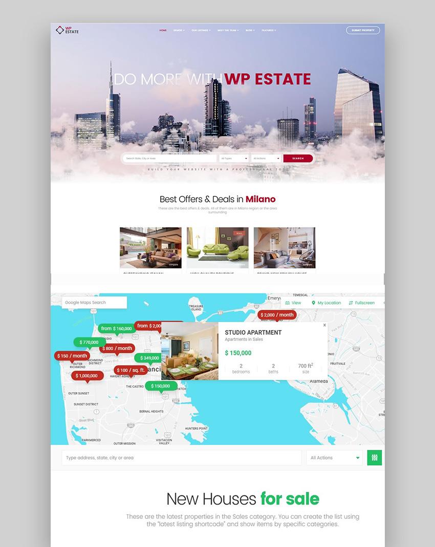 WpEstate - Tema de WordPress para inmobiliaria
