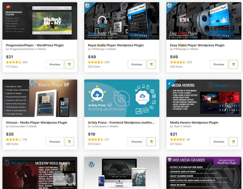 Los plugins de reproducción de audio y vídeo para WordPress más vendidos en CodeCanyon