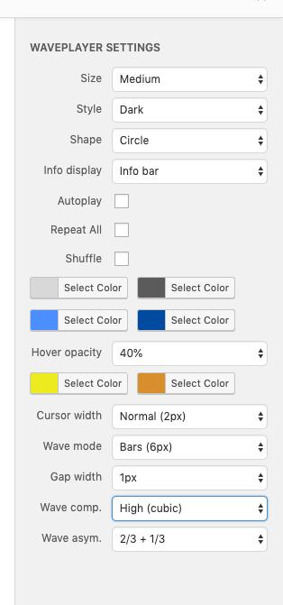 Ajustando las opciones del plugin de reproductor de audio WavePlayer