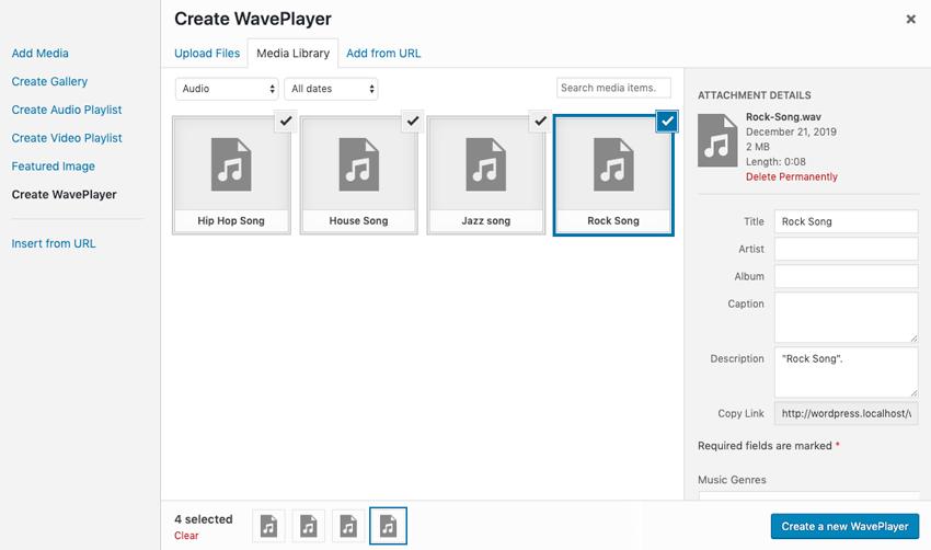 Seleccionar nuevos medios al reproductor de WavePlayer