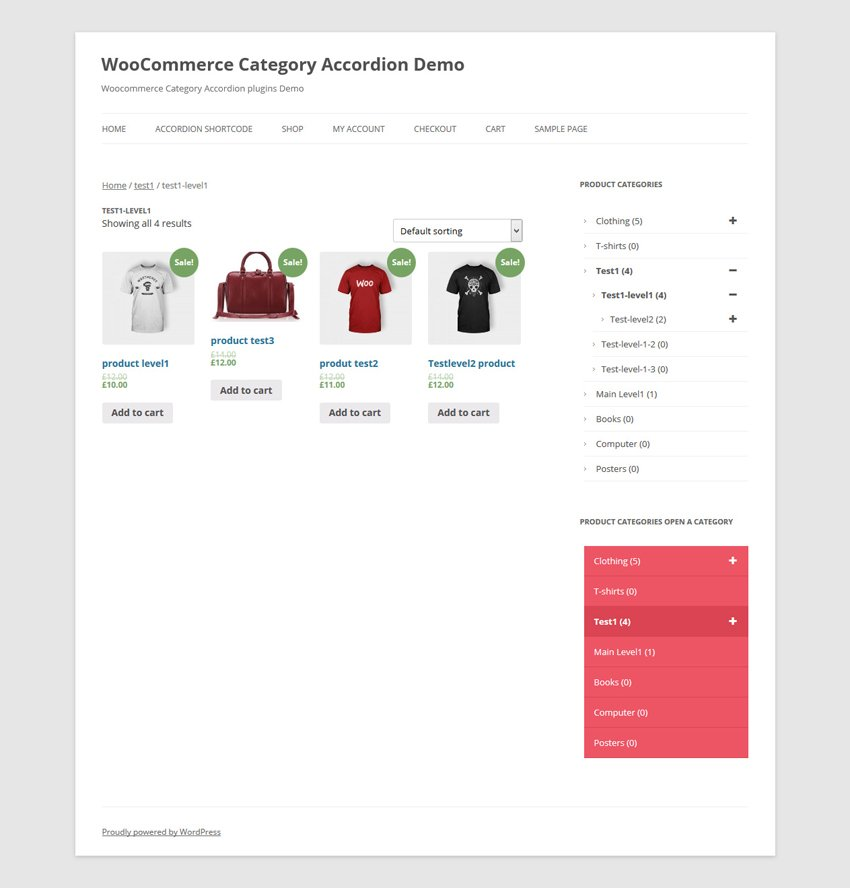 WooCommerce Category Accordion