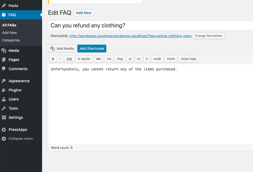 Creating FAQ Entry