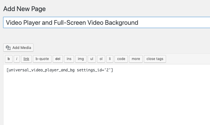 Adding the Video Player Shortcode to a Page