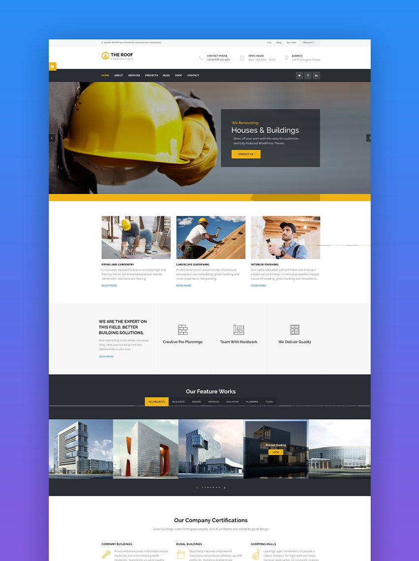 Roof Construction WordPress Theme