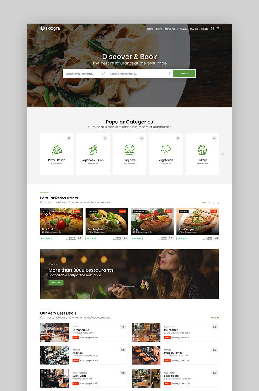 Foogra - Restaurants Directory  Listings Template