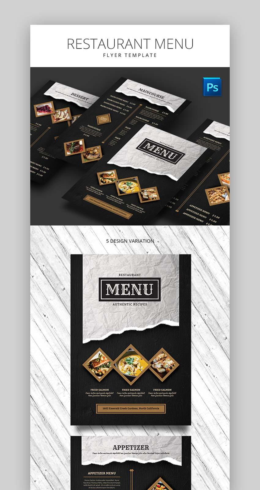 Restaurant Menu Flyer Template