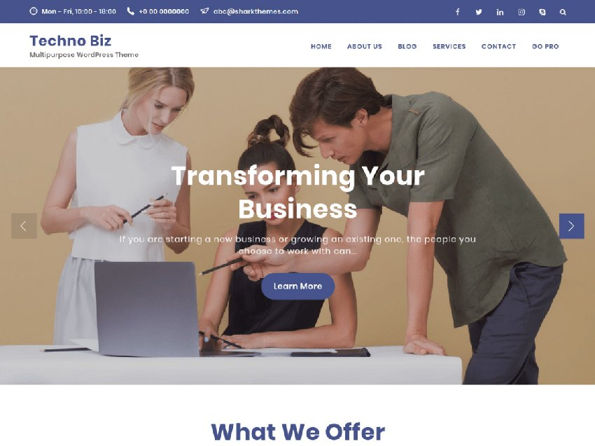 Techno Biz Free SaaS WordPress Theme