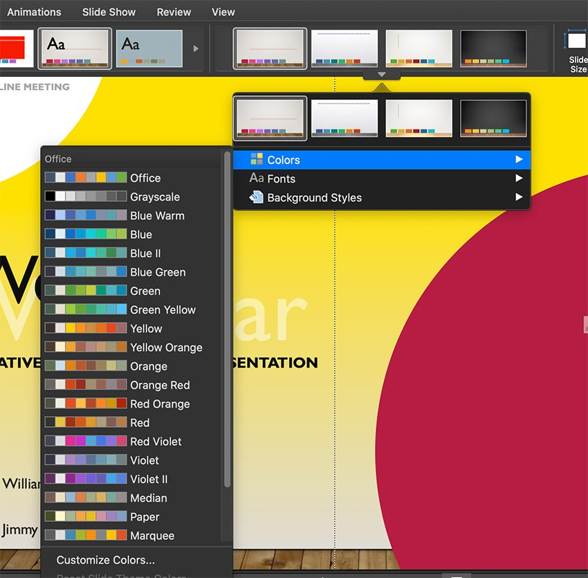 Change the PowerPoint themes colors