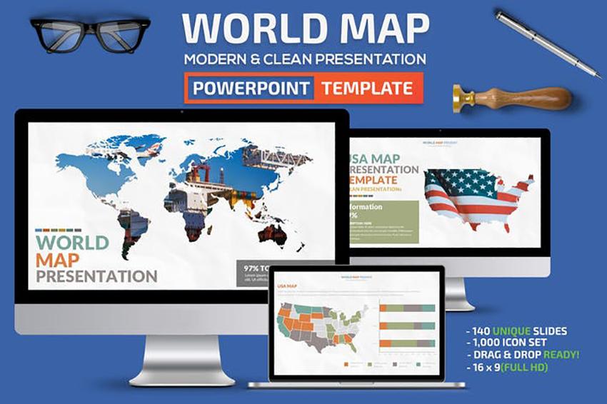 World Map PowerPoint template