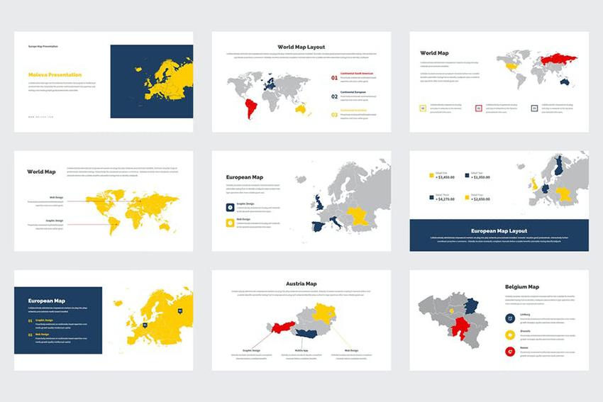 Multicolored editable map template