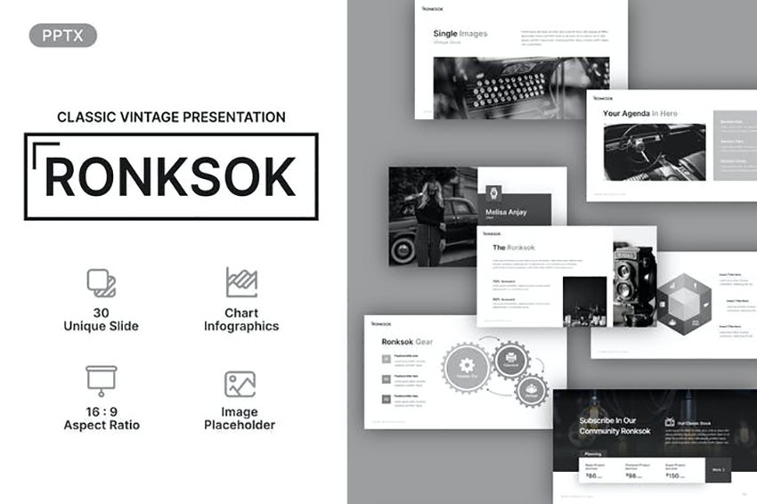 Ronksok Classic Vintage Powerpoint Template