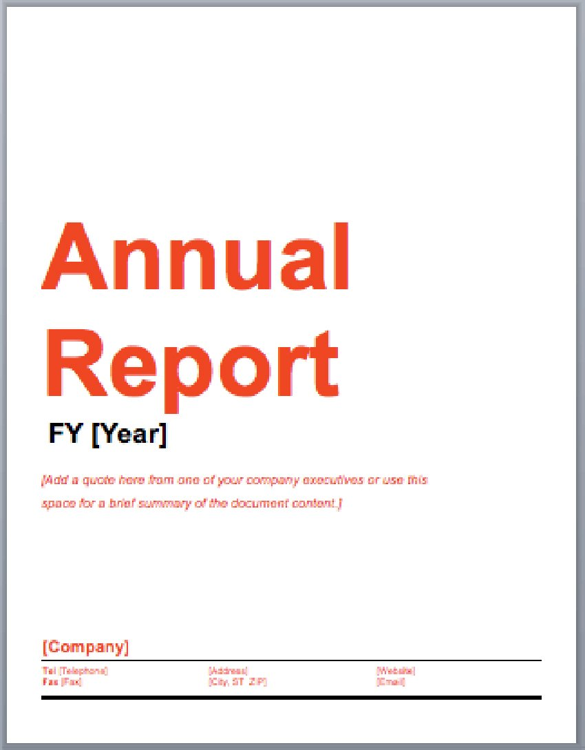 Annual report template free