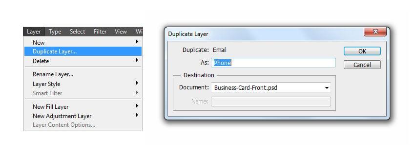 Duplicate layer to phone