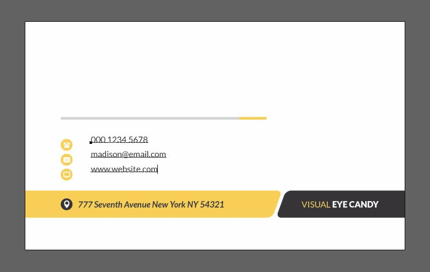 Create phone email and website text layer