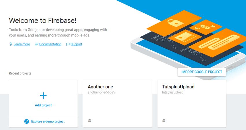 Firebase home page