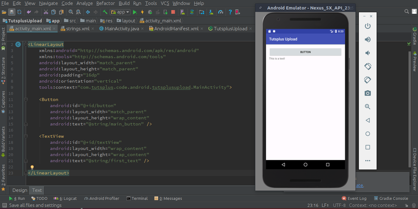 Final code and layout on Android device