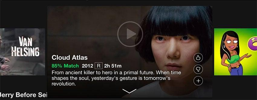 Screenshot of Netflix carousel illustrating enlarged item