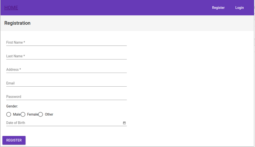 Registration UI layout