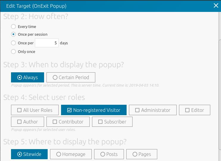 Configure the popup target