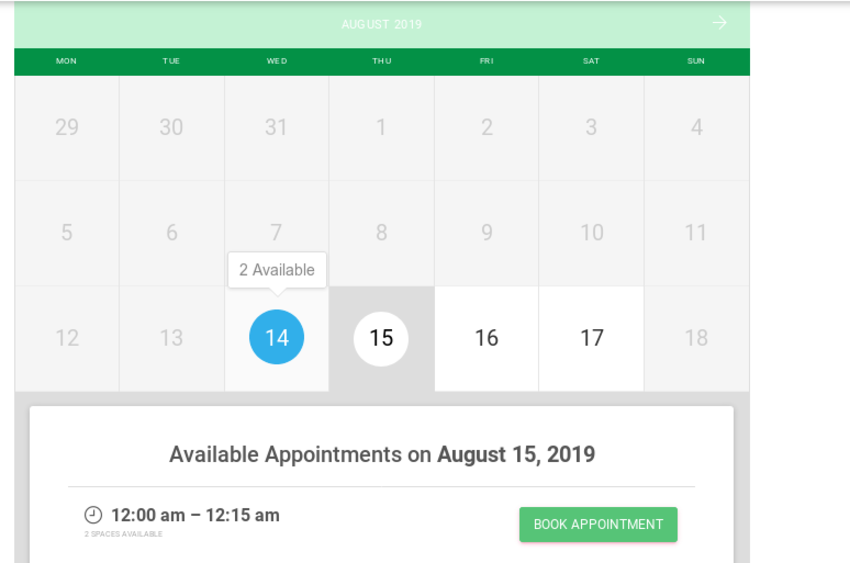 Calendar showing available appointments