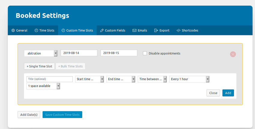 Adding custom time slots