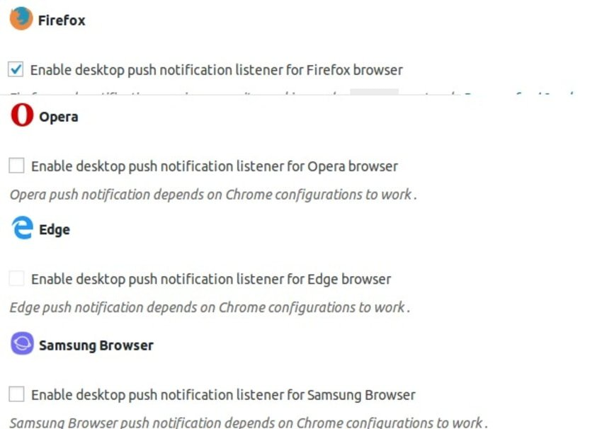 Enable push notifications for each available browser