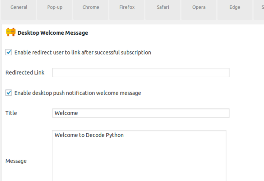 Desktop welcome message and subscription redirect