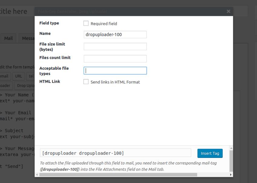 drop uploader settings