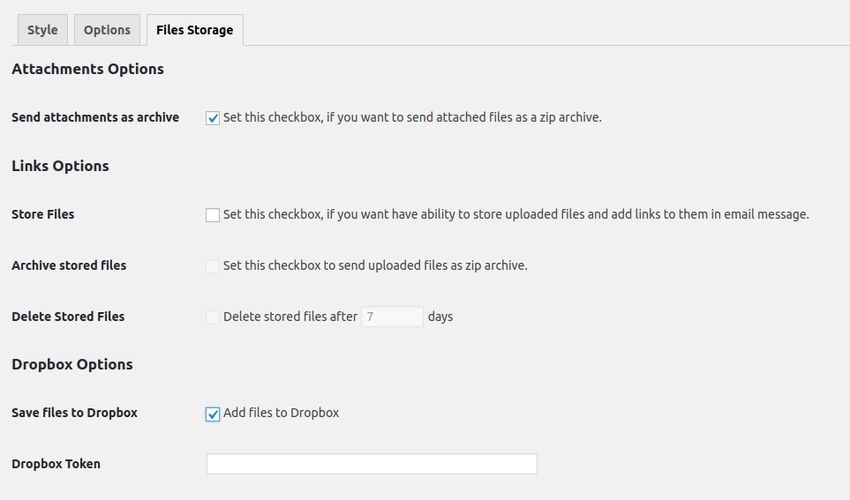 storage settings