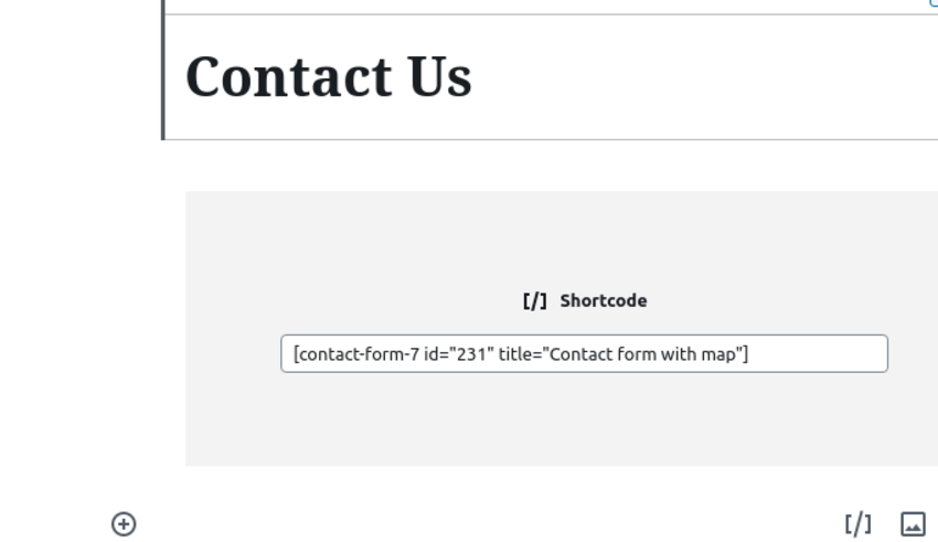 The completed contact form shortcode