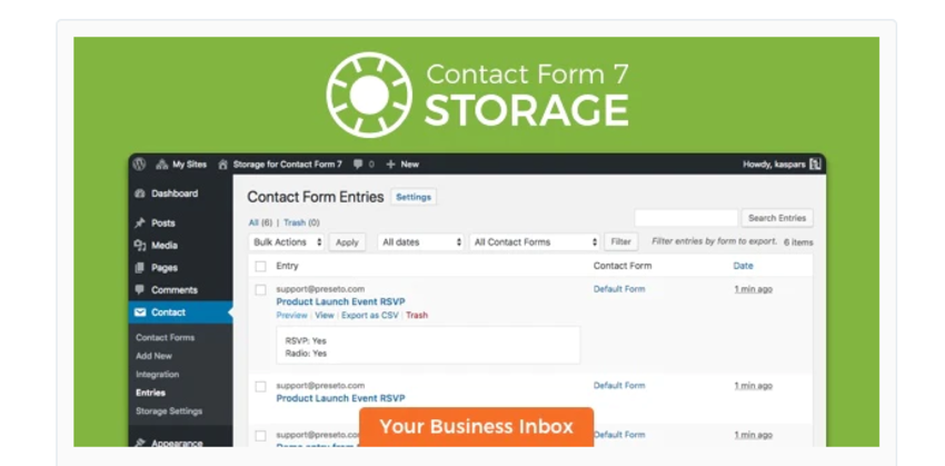 Storage for Contact Form 7