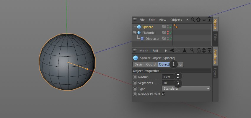 Editing the Platonic parameters in the object options