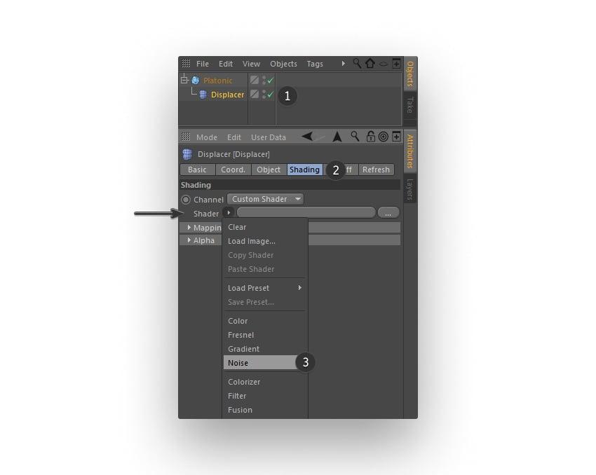 Editing Shading tab