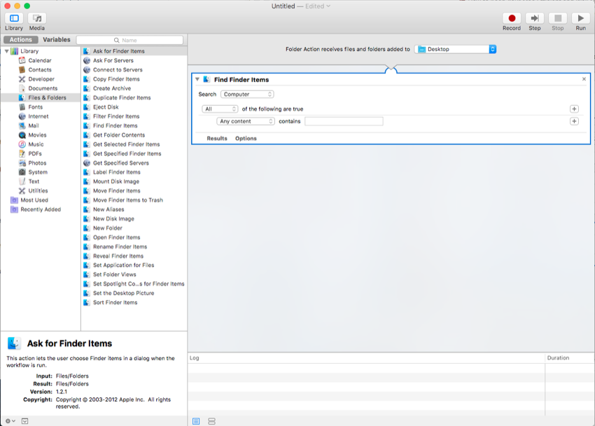 Add find finder items to the right side of the window