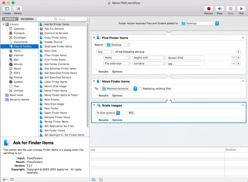 Final part of the folder action in automator for Mac