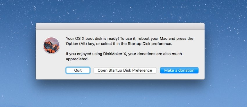 The bootable USB drive is ready to use