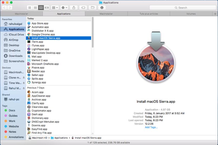 macOS Sierra installer in the Finder