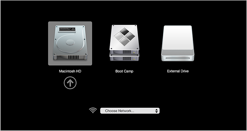 Choose external USB drive from the startup disk manager