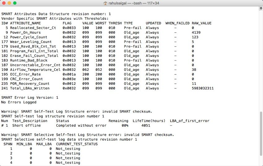 smartctl command result for my SSD