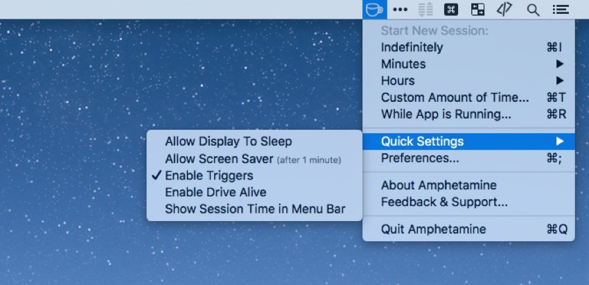 Tweak the Mac sleep settings with Amphetamine