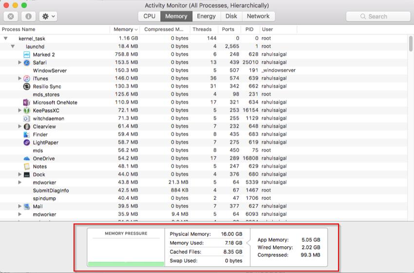 Memory tab of Activity Monitor