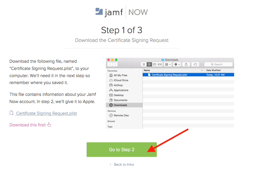 Download the certificate while setting up Jamf Now